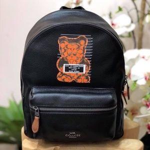 Coach Vandal Leather Charlie Backpack Black Bear
